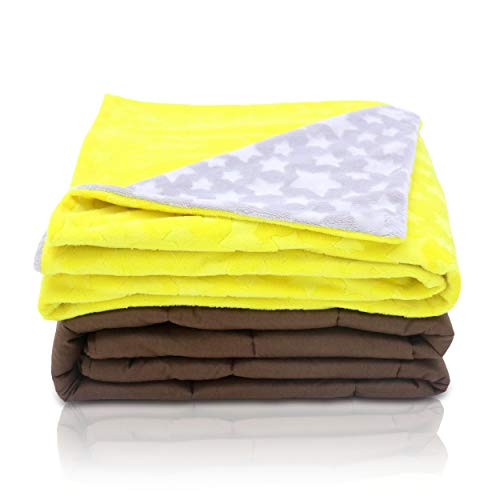 Cheap Premium Weighted Blanket for Kids with Cover - Cooling & Calming Heavy Blanket Minky Cover Yellow Stars for Girls Boys - 7 Lbs 41