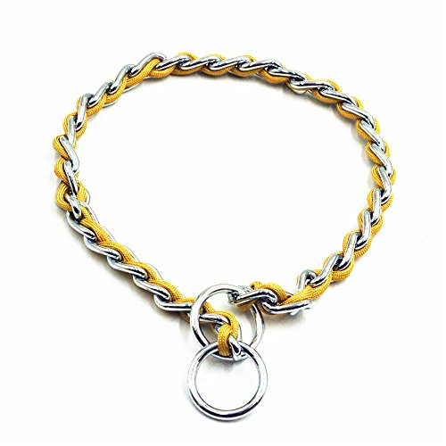 Standard Gold 68 (JWPC Stainless Steel P Chock Metal Chain Training Dog Pet Collars Necklace Walking Training Pet Supplies for Small Medium Large Dogs,Gold L)