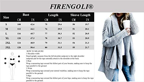 FIRENGOLI Womens Open Front Chunky Sweater Cardigan Long Sleeve Knit Coat with Pocket Grey XL by FIRENGOLI (Image #4)