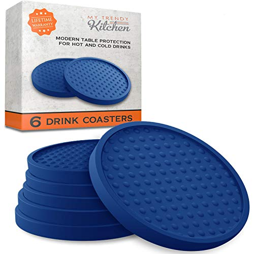 Large Drink Coasters - Absorbs Moisture and Prevents Table Damage, Modern Blue Rubber Coaster with Non-Slip Bottom for Drinking Glasses, 6 Pack