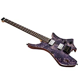EART Headless Electric Guitar fix Bridge for 6 String Travel Guitar Small But Full-scale LEAF Guitar Ultra-Light For…