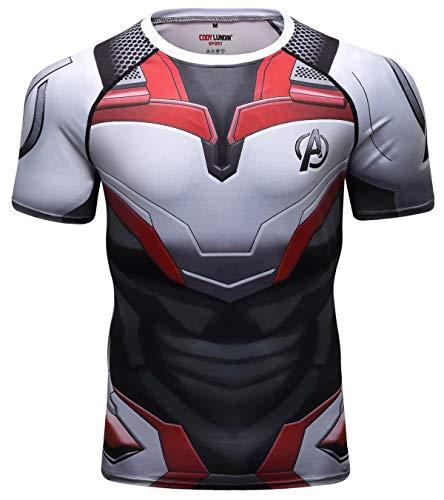 Red Plume Men's Superhero Compression Short Sleeve Gentlemen 3D Digital Printing Quick Dry Short-Sleeved T-Shirt Top (printing2, M) -