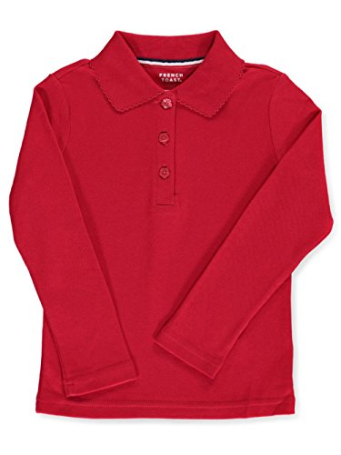(French Toast Big Girls' L/S Fitted Knit Polo With Picot Collar - red, 14/16)
