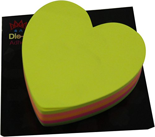 4A Die-cut Sticky notes, Heart Shape, 3 x 3-inch, fluorescent collection, 200 sheets/pad,1 pad/pack, 4A 5036