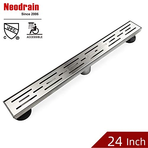 Neodrain 24 Inch Rectangular Linear Shower Drain with Brick Pattern Grate, Brushed 304 Stainless Steel Bathroom Floor Drain,Shower Floor Drain Includes Adjustable Leveling Feet, Hair Strainer