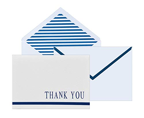 (100 Thank You Cards on Textured White Paper, Letterpress Bulk Thank You Notes with Beautiful Blue Stripe Envelopes and Stickers for Business, Formal and all Occasions 4x6)