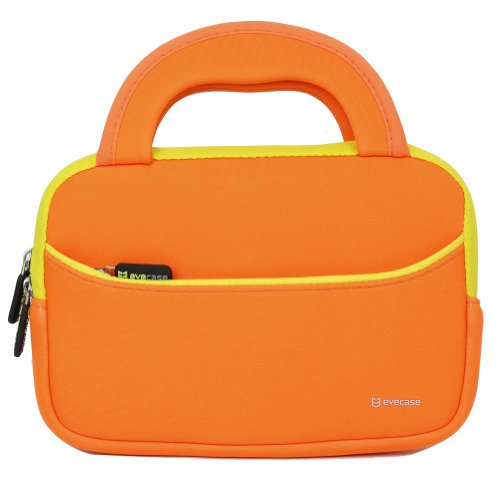 Evecase 7  8 inch Tablet Ultra-Portable Neoprene Zipper Carrying Sleeve Case Bag with Accessory Pocket - Orange Yellow