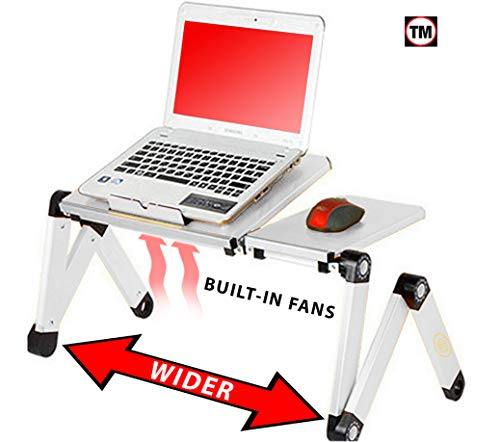 Desk York Portable Table for Computer - Adjustable Light Stand for Laptop - Widest Leg Area in The Market - Recliner Bed Lap Tray - 2 Built in Fans - Mouse Pad and USB Cord Included - Silver
