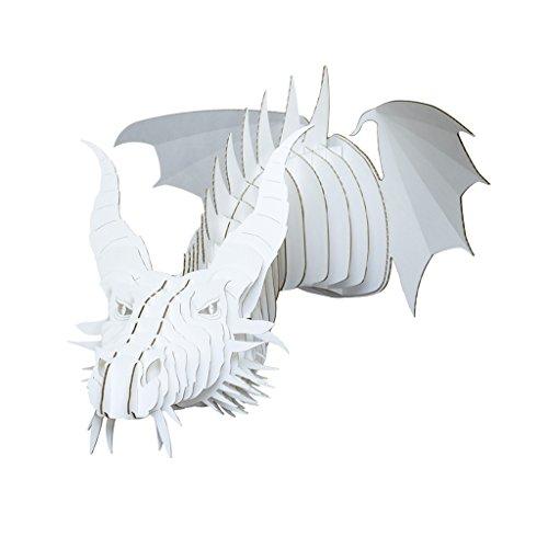 Cardboard Safari Recycled Cardboard Animal Taxidermy Dragon Trophy Head, Nikita White Medium