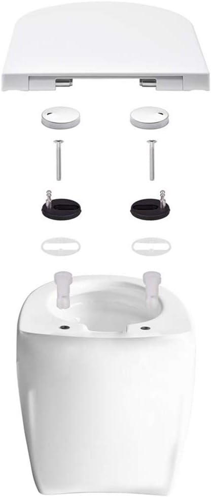 WC Salle de Bains de Si/ège de Toilette Blanc Nettoyage anti-bact/érienne et amovible Syst/ème innovant de fermeture en douceur avec Frein de D/émontage Rapide Abattant WC D Lunette eConnect-EU/®