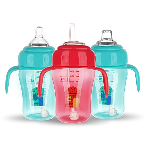 HATOLY Sippy Cups for Toddlers,Baby Straw Bottle with Handles Silicone Sipper & Pacifier &Duckbill Training Children Travel 11 Ounce (Duck Baby Bottle)