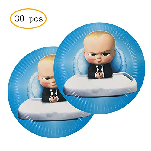 Find Discount 30PCS Boss Baby 7 Inch Party Plates for Baby Show Kids Birthday Party Cake Decorations Supplies