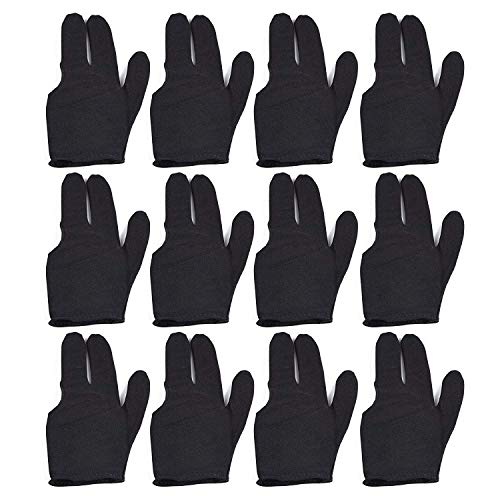 Billiard Gloves 12 PCS Set 3 Fingers Pool Cue Gloves Stretchy One Size Fits All Snooker Gloves