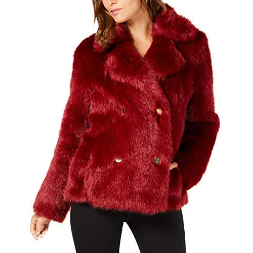 Michael Michael Kors Womens Winter Double-Breasted Faux Fur Jacket Red L (Michael Michael Kors Double Breasted Trench Coat)
