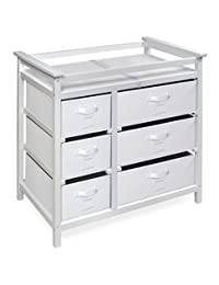Badger Basket Modern Baby Changing Table with Six Baskets, White/Gray BOBEBE Online Baby Store From New York to Miami and Los Angeles