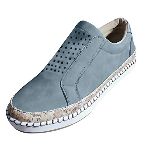 Bravetoshop Womens Lightweight Flats Hollow Round Toe Casual Shoes Non-Slip Breathable Sneakers(Blue,41)