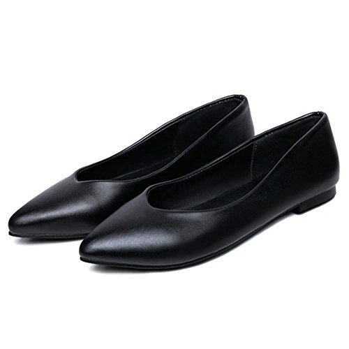 COOLCEPT Maedchen Fashion Flat Dolly Shoes Bequeme School Ballerinas Extra Sizes Black