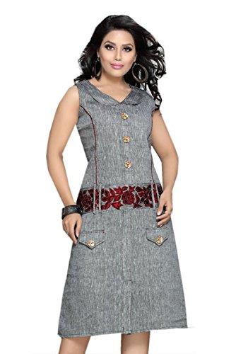jayayamala Bouton coton gris Tunique col en V de travail Robe sans manches