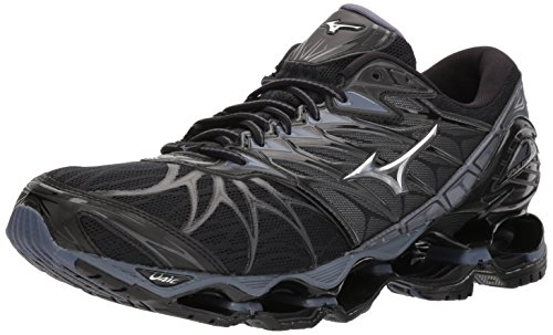 Mizuno Men's Wave Prophecy 7 Running Shoe, Black/Silver, 10.5 D US