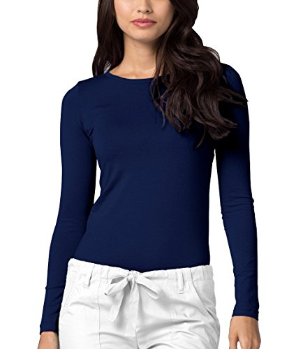 Adar Womens Comfort Long Sleeve T-Shirt Underscrub Tee - 2900 - Navy - ()