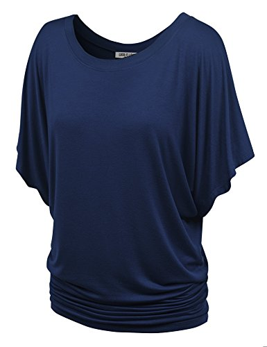 WT742 Womens Boat Neck Short Sleeve Dolman Drape Top S Navy