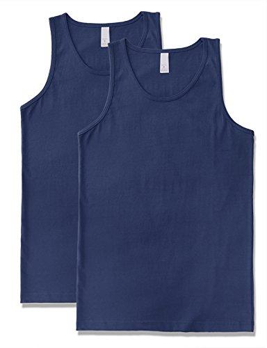 JD Apparel Men's Premium Basic Solid Tank Top Jersey Casual Shirts XL Navy X 2