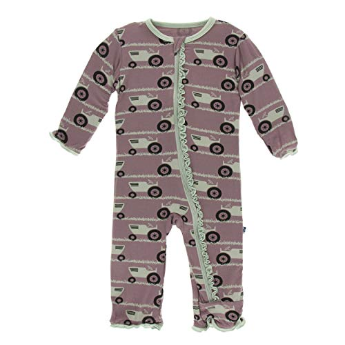 Kickee Pants Little Girls Print Muffin Ruffle Coverall with Zipper - Raisin Tractor and Grass, 6-9 Months (Infant Girl Raisin)