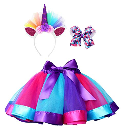 Simplicity Tutus for Girls Rainbow Layered Tulle Tutu Dress up Costume Unicorn Headband Hair Bow]()