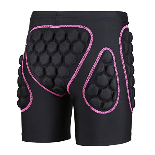 OHMOTOR 3D Padded Protective Shorts Hip Butt EVA Pad Short Pants Heavy Duty Protective Gear Guard Drop Resistance for Ski Skiing Skating Snowboard Cycling (Pink - for Women, S)