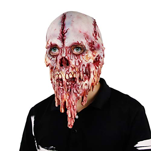 Halloween Latex Horror Melting Face Monster Costume Full Head Mask Walking Dead Zombie Creepy Cosplay Mask for Carnival Party -