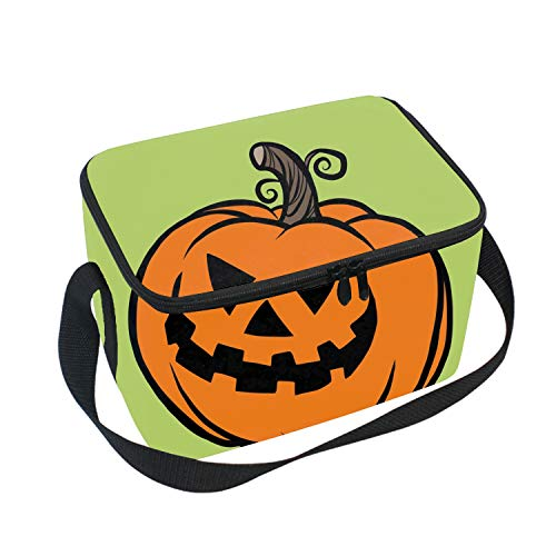 Reusable Thermal Evil Halloween Pumpkin Lunch Bag Lunch Tote Insulated Lunch Box Picnic Bag Cooler Bag]()