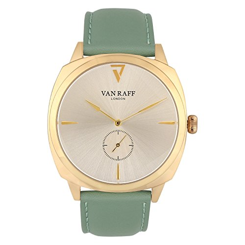 Van Raff Genuine Green Leather Strap Golden dial Analog Watch for Men VF1975-100% Authentic. Imported