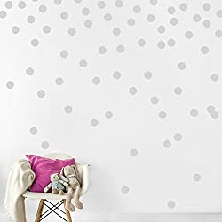 Gray Wall Decal Dots (200 Decals) | Easy Peel & Stick + Safe on Walls Paint | Removable Matte Vinyl Polka Dot Decor | Round Circle Art Glitter Sayings Sticker Large Paper Sheet Set for Nursery Room