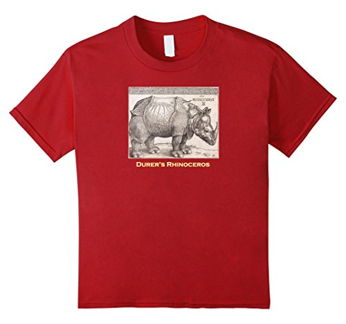 Cranberry Circa (Kids Durer's Rhinoceros Woodcut Print T-shirt circa 1515 4 Cranberry)