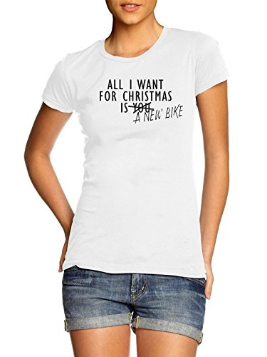 All I Want For Christmas ist eine neue Bike T Shirt Gr. Large, weiß