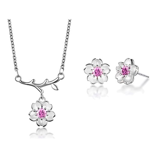 Transparent Necklace And Earring Set - Silver Plated-brass and Cubic Zirconia Necklace Earring Set Pink purple Purple Flower (pink flower)