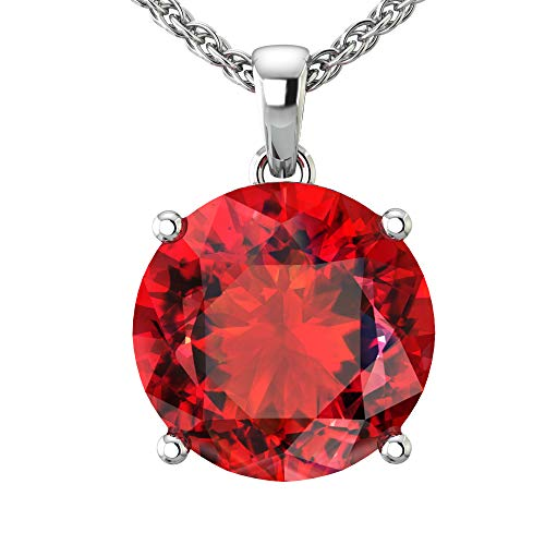 Belinda Jewelz 14k Rhodium Plated White Gold Round Gemstone Sparkling Rope Chain Sterling Silver Birthstone Fine Jewelry Classic Women Hang Pendant Necklace, 4.2 Carat Created Ruby, 18 Inch ()