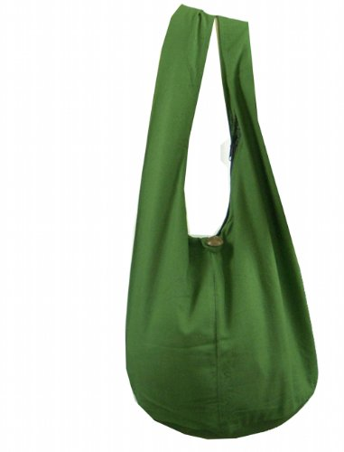 BTP! Thai Monk Buddha Cotton Sling Crossbody Messenger Bag Shlouder Purse Hippie Hobo Medium (Green M8)
