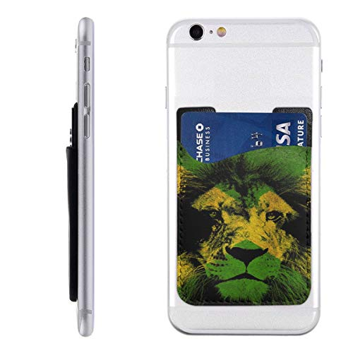 Jamaican Flag Lion Fashion Card Holder Back Phone Cell Phone Wallet Pocket Credit Card ID Business Card - iPhone Android