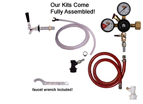 1 Faucet Fridge Kit with Shank, Tailpiece and Standard Faucet, Ball Lock, Chudnow - Fridge Conversion Kits