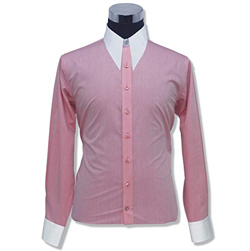Mens Spear Point Collar Pink Melange Bankers Shirt Vintage Classic 100% Cotton Relax fit Shirts 200-13 (17) (Spear Point Collar)