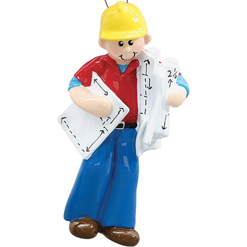 ction Guy Christmas Ornament for Tree 2018 - Engineer Architect Man with Yellow Helmet Project Papers - Profession New Job Coworker Building Machine Industry - Free Customization (Skyscrapers Behind Trees)