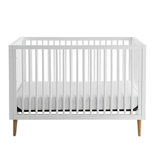Kolcraft 3-in-1 Roscoe Convertible Crib - Easy-to-Assemble, Built-In Hardware, Mid Century Modern Design, 3 Mattress Height Positions, White ()