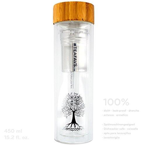 TEEBEREITER - Teeflasche Tee-Glas to go Tea-Maker doppelwandig mit Tee-Sieb und Bambus Deckel 450ml BPA-frei amapodo®