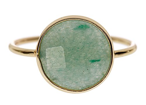 Gemstone Rose Gold Ring (Green Aventurine 18k Gold Clad Wholesale Gemstone Fashion Jewelry Round Ring (8))