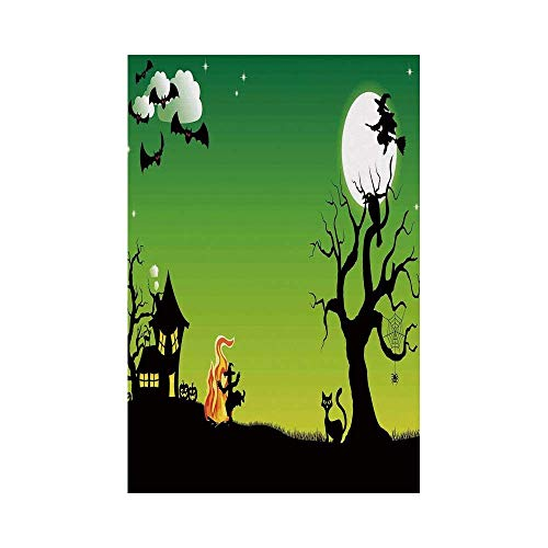 Polyester Garden Flag Outdoor Flag House Flag Banner,Halloween Decorations,Witch Dancing with Fire at Halloween Ancient Western Horror Image,Green Black,for Wedding Anniversary Home Outdoor Garden Dec