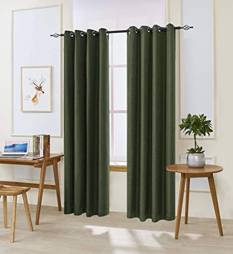 "DyFun 2 Panels Curtains Linen Thermal Insulated Window Treatment Grommet Top Blackout Window Curtains/Drapes (52""×95"", Dark Green)"