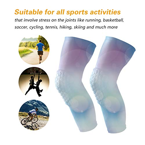 HEY BOX Blue Purple Dream Bubbles 1 Pair Anti-Slip Honeycomb Knee Pads Protector Long Compression Leg Sleeve for Men Women Youth Adult Volleyball Baseball Football Wrestling