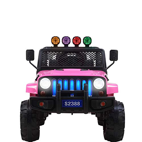 Uenjoy Electric Kids Ride On Cars 12V Battery Motorized Vehicles W/ Wheels Suspension, Remote Control, Music& Story Playing, Colorful Lights, Sunshine Model, Pink by Uenjoy (Image #1)