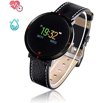 Smart Watch for Women, GOKOO S2 Girls Men Bluetooth Waterproof Leather Touchscreen Round Smartwatch with Heart Rate Blood Pressure Sleep Monitor ...
